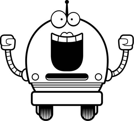 A cartoon illustration of a female pink robot celebrating success.
