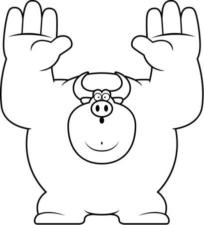 surrendering: A cartoon illustration of a bull surrendering.