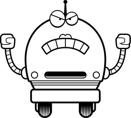 A cartoon illustration of a female pink robot looking angry.