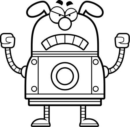 A cartoon illustration of a robot dog looking angry. Illusztráció