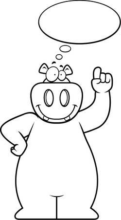 A happy cartoon hippo thinking and smiling. Çizim