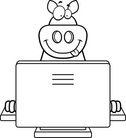 컴퓨터와 함께 행복 한 만화 돼지입니다. 일러스트