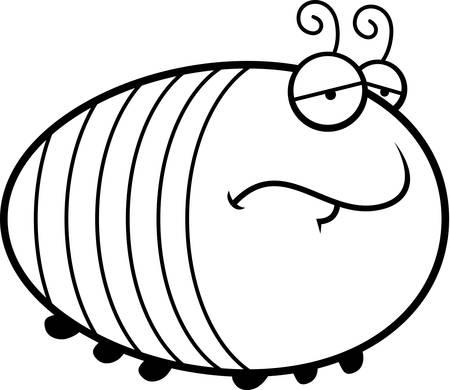 A cartoon illustration of a grub with a sad expression.