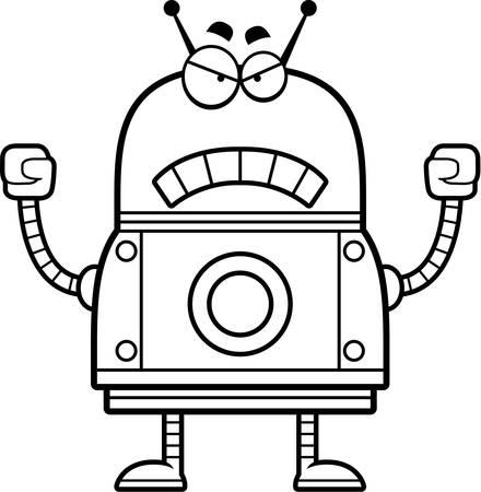 A cartoon illustration of a red robot looking angry. Illusztráció
