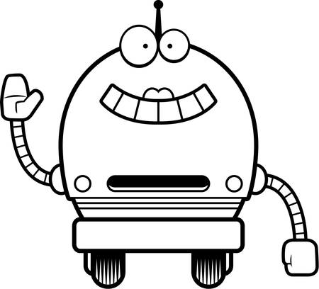 female pink: A cartoon illustration of a female pink robot smiling and waving.