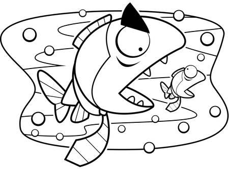 ネクタイのより小さい魚を食べる大きな魚。