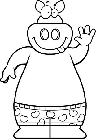 A cartoon illustration of a pig in boxer shorts.