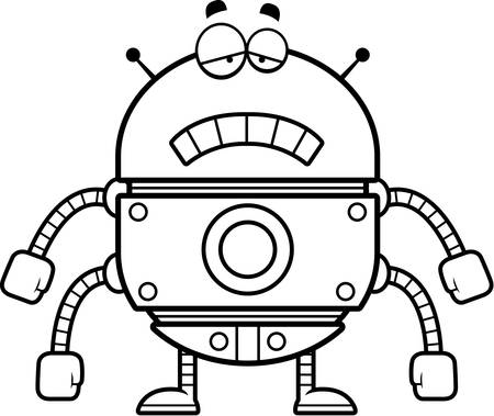 scowl: A cartoon illustration of a gold robot looking sad.