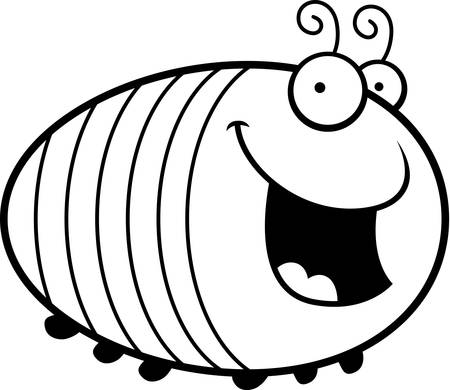 grub: A cartoon illustration of a grub smiling.
