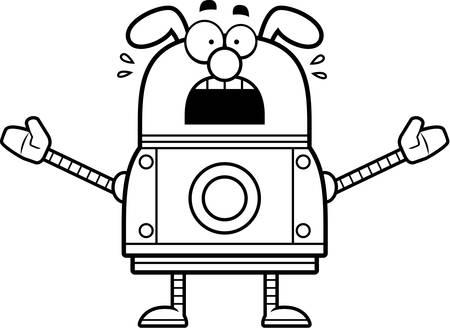 perro asustado: Un ejemplo de la historieta de un perro robot mirando asustado.