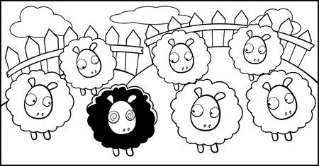 A cartoon black sheep surrounded by white sheep. Ilustrace