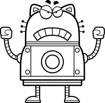 A cartoon illustration of a robot cat looking angry.