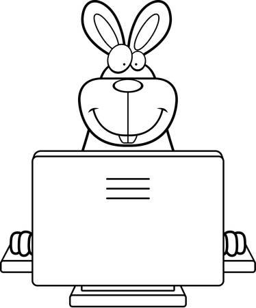 コンピューターと幸せな漫画のウサギ。 写真素材 - 43356266