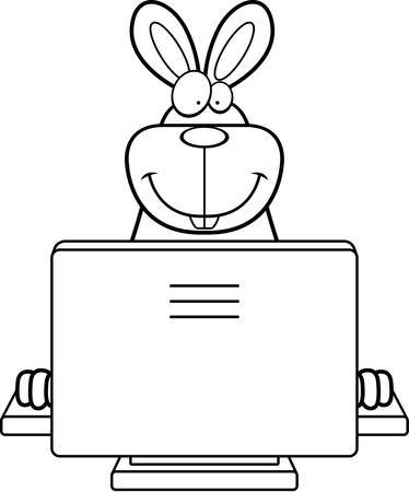 A happy cartoon rabbit with a computer.