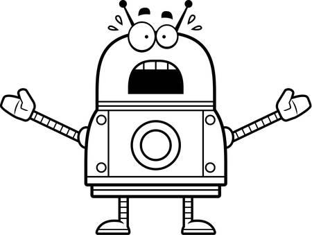 megrémült: A cartoon illustration of a red robot looking scared.
