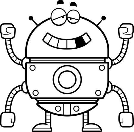 Een cartoon illustratie van een storing gouden robot.