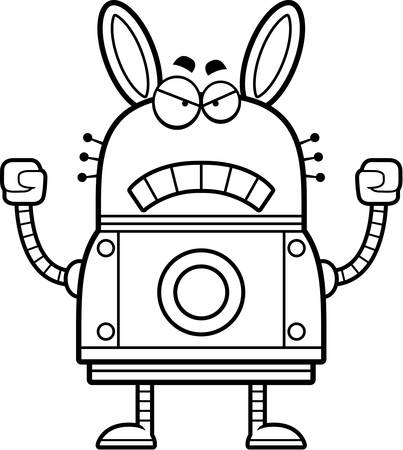 A cartoon illustration of a robot rabbit looking angry. 向量圖像