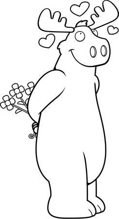 A happy cartoon moose in love and holding flowers. Ilustração