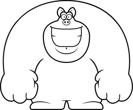 smilling: A cartoon illustration of a pig smiling. Illustration