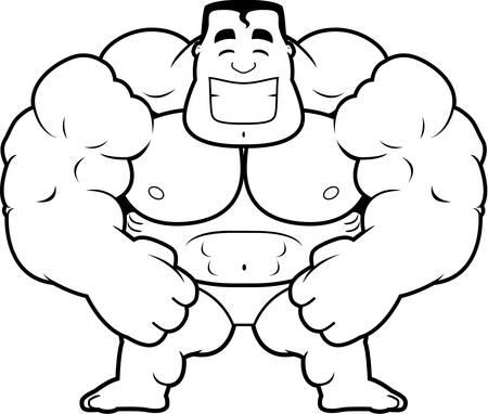 flexing: A cartoon illustration of a bodybuilder flexing. Illustration