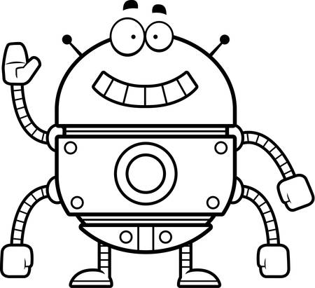 smirking: A cartoon illustration of a gold robot smiling and waving.