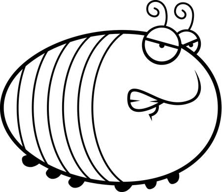 A cartoon illustration of a grub with an angry expression.