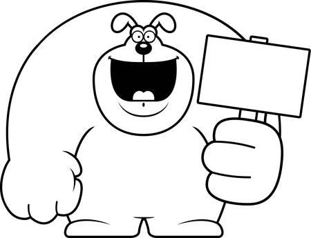 A cartoon illustration of a dog holding a sign. Illustration