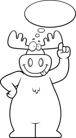 contemplate: A happy cartoon moose thinking and smiling.