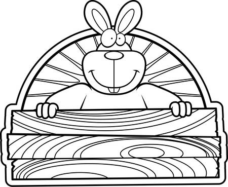 A happy cartoon rabbit with a wooden sign.