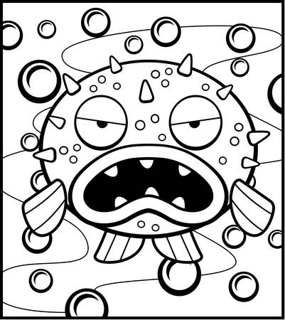 spines: A cartoon blowfish with an angry expression. Illustration