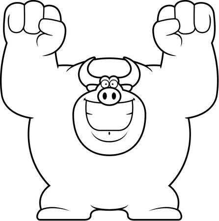 celebrating: A cartoon illustration of a bull celebrating.