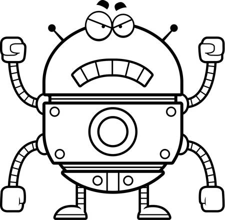 raging: A cartoon illustration of a gold robot looking angry. Illustration