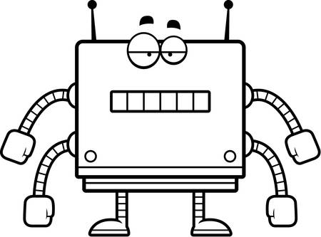 unemotional: A cartoon illustration of a square robot with an unemotional expression. Illustration