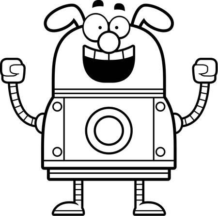 hooray: A cartoon illustration of a robot dog celebrating success.