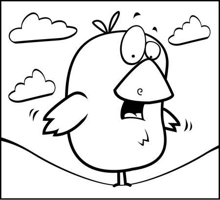 balanced: A cartoon little yellow bird balanced on a wire.