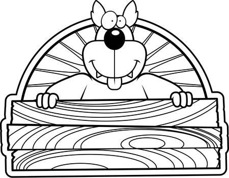 Een gelukkig cartoon wolf met een houten bord.