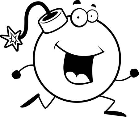 cartoon bomb: A happy cartoon bomb running and smiling.