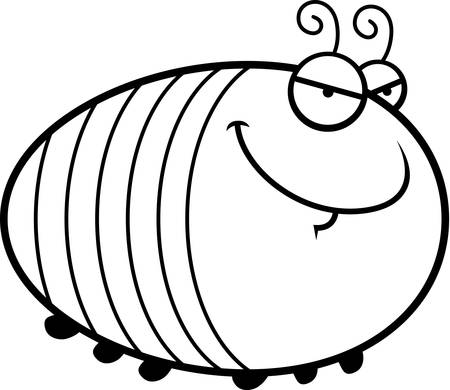 devious: A cartoon illustration of a grub with a sly expression. Illustration