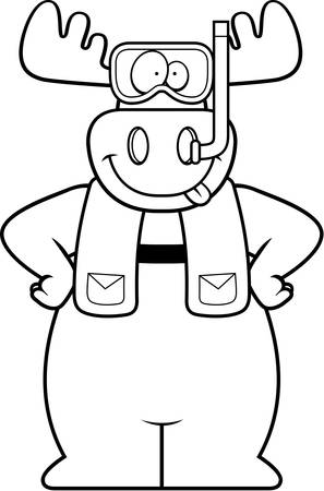 snorkeling: A cartoon illustration of a moose wearing snorkeling gear. Illustration