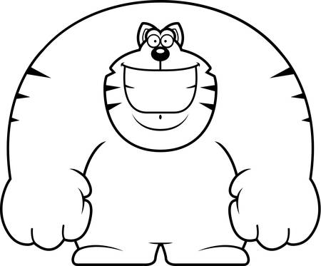 A cartoon illustration of a cat smiling.