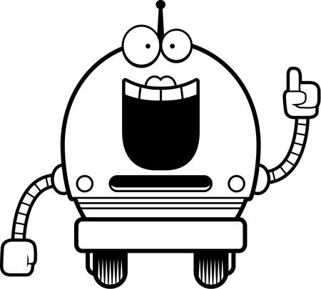 talking robot: A cartoon illustration of a female pink robot with an idea.