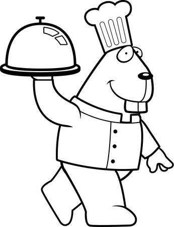A happy cartoon beaver chef carrying a serving tray.