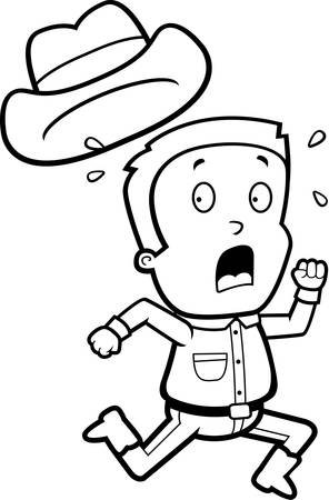 child running: A cartoon cowboy child running in fear. Illustration
