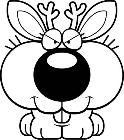 A cartoon illustration of a jackalope with a sly expression.