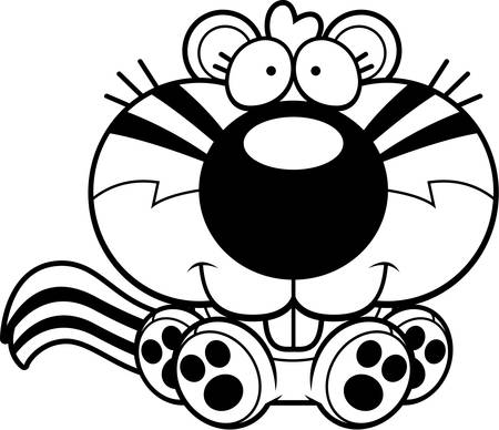 chipmunk: A cartoon illustration of a chipmunk sitting and smiling.