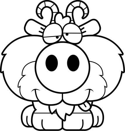 intoxicated: A cartoon illustration of a goat with a goofy expression. Illustration
