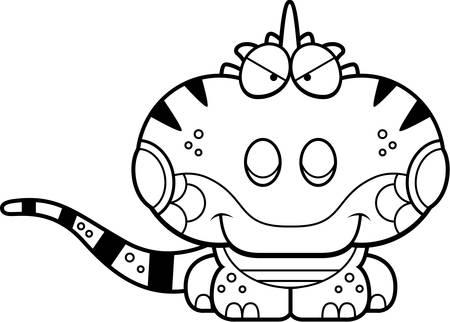 Een cartoon illustratie van een leguaan met een sluwe uitdrukking.