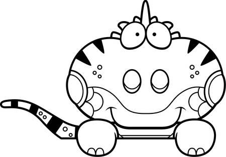 Een cartoon illustratie van een leguaan gluren over een object.