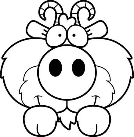 peering: A cartoon illustration of a goat peeking over an object. Illustration