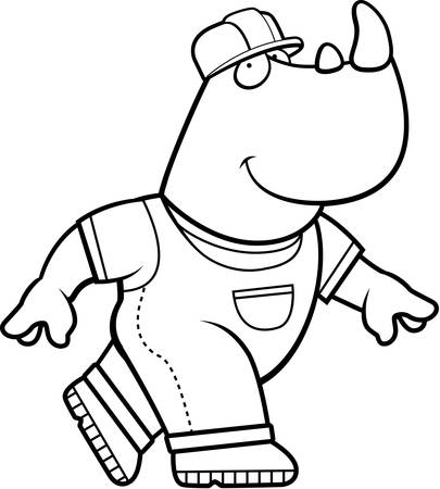 A happy cartoon builder rhino in a hardhat,